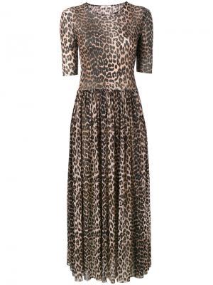 Платье-макси в леопардовый принт Olivet Ganni. Цвет: коричневый