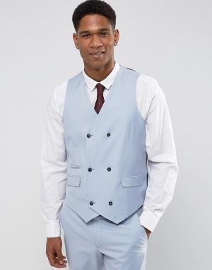 ASOS Голубой жилет скинни из 100% шерсти Wedding. Цвет: синий