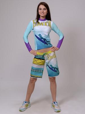 Лонгслив EMDI. Цвет: голубой, фиолетовый, желтый, белый