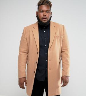 ASOS Бежевое пальто с добавлением шерсти PLUS. Цвет: рыжий