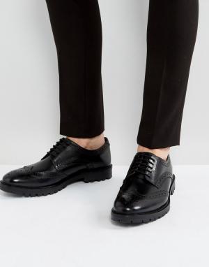 Base London Черные кожаные броги. Цвет: черный