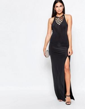 Rare Платье макси с разрезом сбоку. Цвет: черный