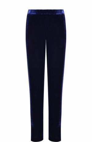 Однотонные бархатные брюки прямого кроя St. John. Цвет: синий