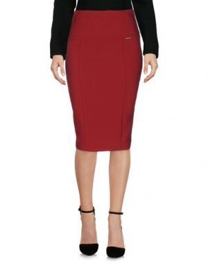 Юбка до колена CARLA MONTANARINI. Цвет: красно-коричневый