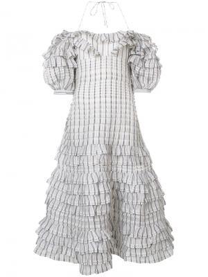 Платье в клетку с рюшами Zimmermann. Цвет: синий
