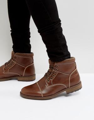 New Look Коричневые ботинки милитари на шнуровке. Цвет: рыжий
