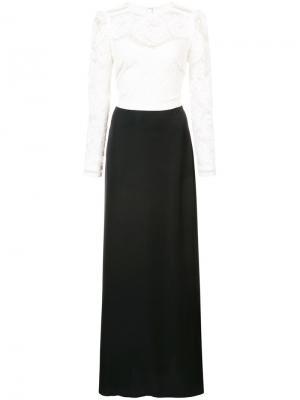 Long-sleeved lace top dress Tadashi Shoji. Цвет: чёрный