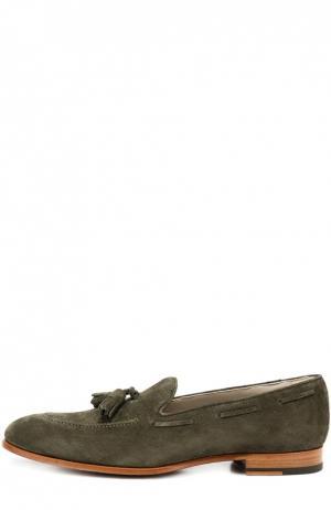 Замшевые лоферы с кисточками Kiton. Цвет: зеленый
