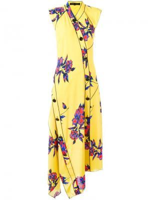 Платье с цветочным принтом Proenza Schouler. Цвет: жёлтый и оранжевый
