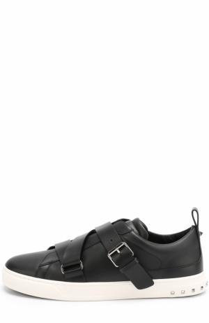 Кожаные кеды  Garavani V-Punk с ремешками Valentino. Цвет: черный