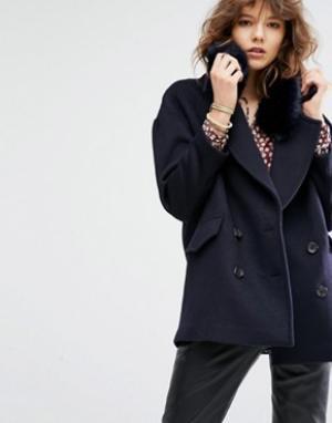 Maison Scotch Свободная куртка с отстегивающимся воротником из искусственного меха M. Цвет: темно-синий