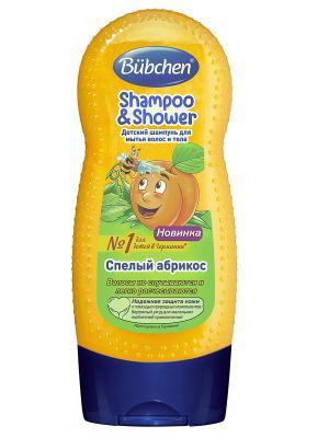 Шампунь для волос и тела Спелый абрикос, 230 мл Bubchen. Цвет: желтый