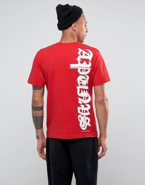 AAPE BY A BATHING APE Футболка с принтом на спине. Цвет: красный