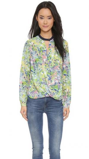 Фирменная блуза с принтом и перекрученным элементом спереди And B. Цвет: мульти