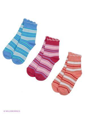 Носки - 3 пары Гамма. Цвет: бирюзовый, малиновый, персиковый