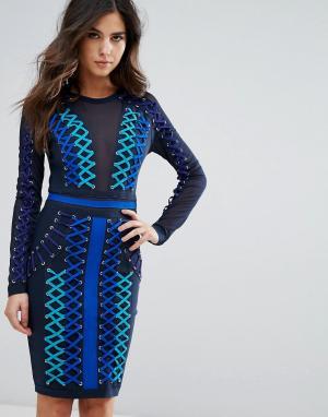 Wow Couture Бандажное платье со шнуровкой и сетчатыми вставками. Цвет: синий