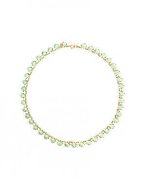 Колье из латуни с кристаллами Ca&Lou. Цвет: светло-зеленый