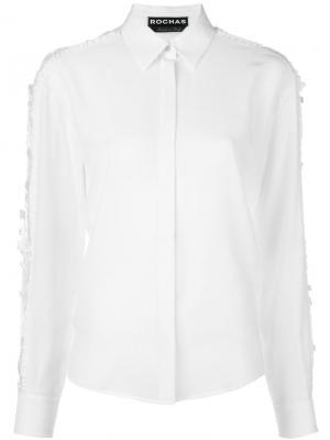 Рубашка с кружевными вставками на рукавах Rochas. Цвет: белый