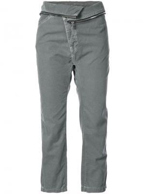 Укороченные брюки с отделкой молнией NSF. Цвет: зелёный