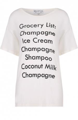 Удлиненный футболка свободного кроя с контрастной надписью Wildfox. Цвет: белый