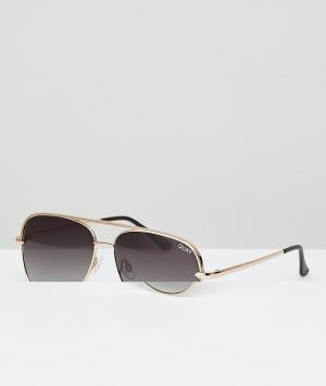 Quay Australia Солнцезащитные очки-авиаторы с золотистой оправой X Des. Цвет: золотой