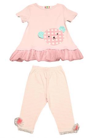 Комплект: футболка, бриджи Kidly. Цвет: светло-розовый