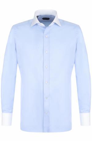 Хлопковая сорочка с воротником акула Tom Ford. Цвет: голубой