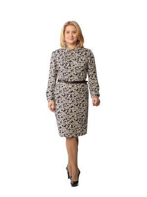 Платье Alego. Цвет: коричневый, молочный