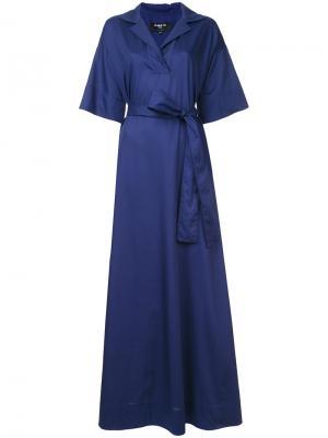 Длинное платье с запахом Paule Ka. Цвет: синий