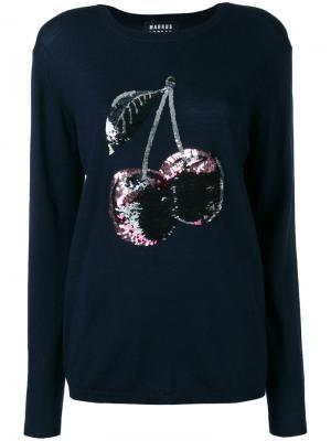 Sequin cherry embroidered jumper Markus Lupfer. Цвет: синий