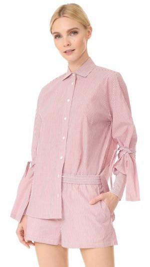 Рубашка в полоску с лентами на рукавах Robert Rodriguez. Цвет: красный