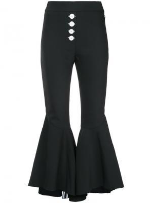 Расклешенные брюки с оборками Ellery. Цвет: чёрный