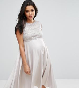 ASOS Maternity Приталенное платье миди для беременных. Цвет: серый
