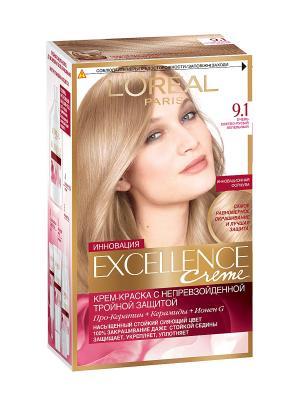 Стойкая крем-краска для волос Excellence, оттенок 9.1, Очень светло-русый пепельный L'Oreal Paris. Цвет: бежевый