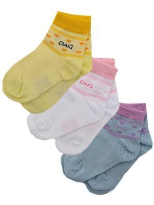 Носки Детские,комплект 3 пары DAG. Цвет: голубой, белый, желтый