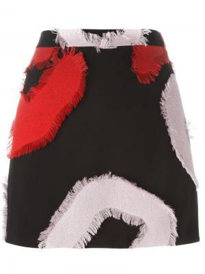 Мини-юбка с необработанными нашивками Versace. Цвет: чёрный