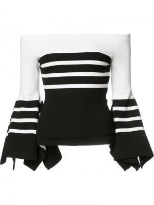 Полосатая блузка с рукавами-колокол Rosetta Getty. Цвет: чёрный