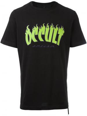 Футболка с надписью Occult Omc. Цвет: чёрный