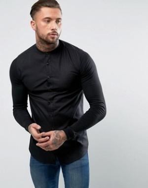 SikSilk Рубашка скинни с трикотажными рукавами. Цвет: черный