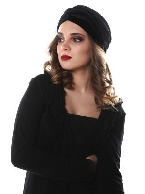 Чалма-шапочка утепленная на флисе Черный бархат предварительно завязанная SEANNA. Цвет: черный