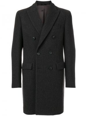 Двубортное пальто Hevo. Цвет: серый