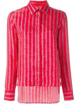 Рубашка с полосатым узором Carven. Цвет: красный