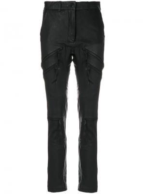 Байкерские брюки Barbara I Gongini. Цвет: чёрный