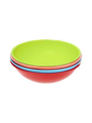 Салатник - 4 шт. Migura. Цвет: голубой, красный, коралловый, салатовый