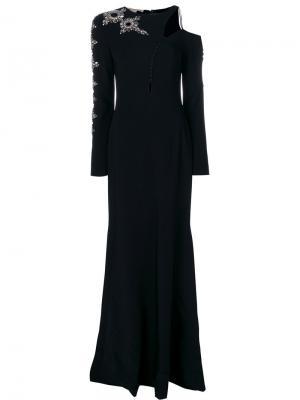 Платье на одно плечо с отделкой Antonio Berardi. Цвет: чёрный