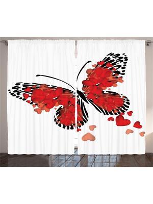Комплект фотоштор белый Чёрная узорчатая бабочка с красными сердцами на крыльях, 290*265 см Magic Lady. Цвет: белый, красный, черный