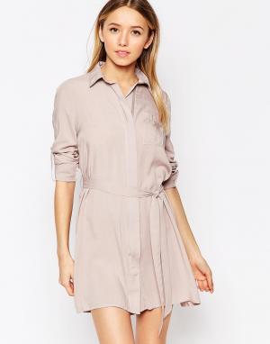 Club L Свободное платье-рубашка. Цвет: серый
