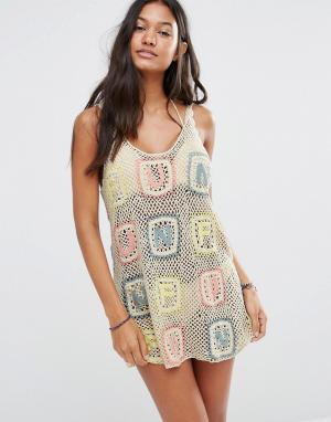 Wildfox Ажурное платье Sabrina. Цвет: кремовый