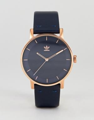 Adidas Часы с темно-синим кожаным ремешком Z08 District. Цвет: темно-синий