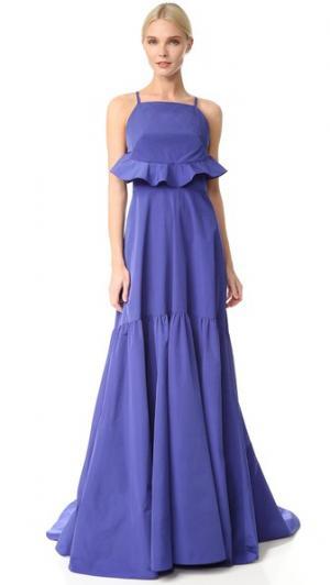 Вечернее платье с оборкой сзади Lela Rose. Цвет: ляпис-лазурит